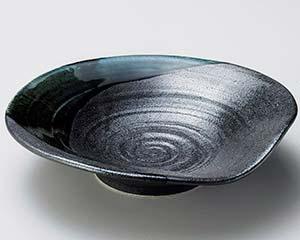 【まとめ買い10個セット品】和食器 ア250-177 黒結晶緑流盛皿小【キャンセル/返品不可】【ECJ】