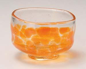【まとめ買い10個セット品】和食器 ワC386-286 吹ガラス 抹茶&小鉢 オレンジ 【キャンセル/返品不可】【ECJ】