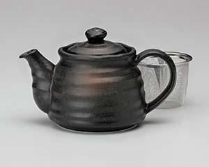【まとめ買い10個セット品】和食器 ア387-207 黒釉ポット(茶こし付)【キャンセル/返品不可】【ECJ】