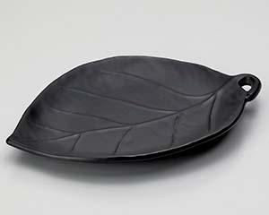 市場 isj-406-157 和食器 営業 ス406-157 大 黒釉葉型陶板 ECJ