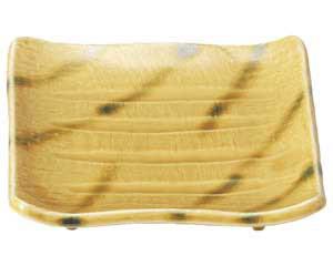 【まとめ買い10個セット品】和食器 ア485-137 黄交趾 正角焼物皿【キャンセル/返品不可】【ECJ】