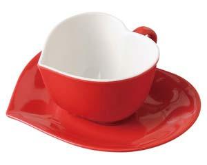 【まとめ買い10個セット品】オ512-057 アシンメトリックハートコーヒー碗(レッド)【キャンセル/返品不可】【ECJ】