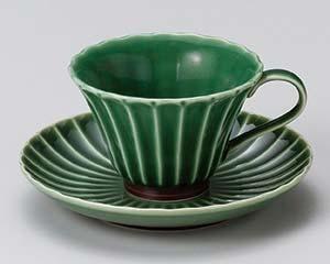 和食器 ハ608-216 緑彩菊コーヒー碗と受皿
