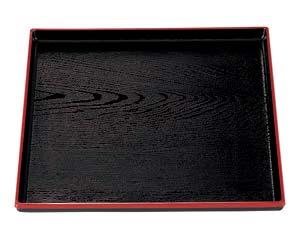 【まとめ買い10個セット品】エ711-317 [A]正角木目盆 黒天朱 尺1寸【キャンセル/返品不可】【ECJ】