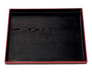 【まとめ買い10個セット品】エ711-327 [A]正角木目盆 黒天朱 尺2寸【キャンセル/返品不可】【ECJ】