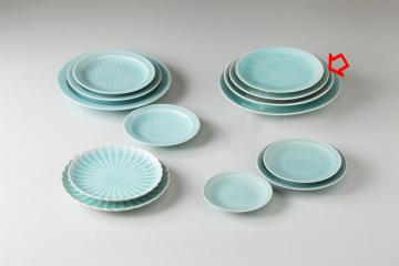 【まとめ買い10個セット品】和食器 手彫青白瓷 丸8.0皿 36K205-14 まごころ第36集 【キャンセル/返品不可】【ECJ】