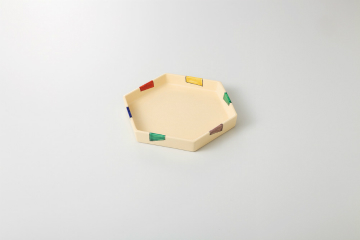 【まとめ買い10個セット品】和食器 五色短冊 六角皿 36K174-11 まごころ第36集 【キャンセル/返品不可】【ECJ】