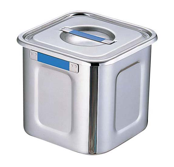 『 キッチンポット 角型 』18-8カラープレート付角ポット 24cm ブルー