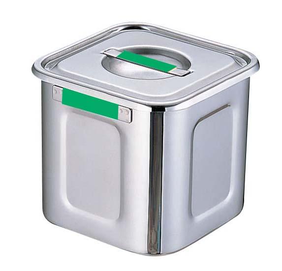 『 キッチンポット 角型 』18-8カラープレート付角ポット 24cm グリーン