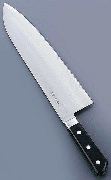 『 洋包丁 牛刀 』堺菊守日本鋼[口金付]巾広厚口牛刀[両刃] 27cm