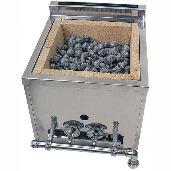 『 焼き物器 焼鳥 うなぎ焼台 』溶岩石焼台[木炭兼用]NSY-1[1連]LPガス【 メーカー直送/後払い決済不可 】