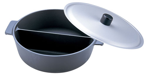 アルミ鍋のなべ 二槽式フッ素加工[蓋付] 27cm [卓上鍋関連品] 【 業務用 【 料理宴会用 ちり鍋 】