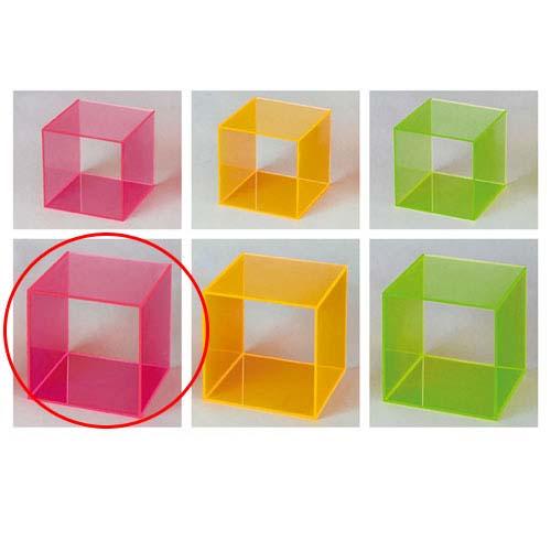 【まとめ買い10個セット品】 アクリル4面ボックス ピンク24.5cm角【店舗什器 パネル 壁面 小物 ディスプレー 店舗備品】【ECJ】