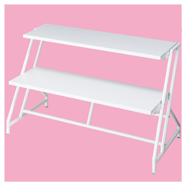 【まとめ買い10個セット品】 ステア2段テーブル ホワイト脚棚ホワイト W120 【ECJ】