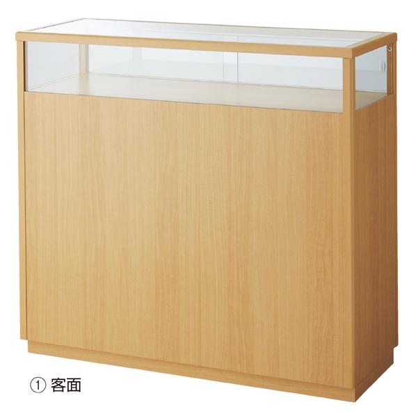 【まとめ買い10個セット品】 木製ショーケースカウンター W120cm エクリュ 【ECJ】