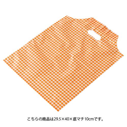 【まとめ買い10個セット品】 格子柄 オレンジ 29.5×40×底マチ10 100枚【店舗什器 小物 ディスプレー ギフト ラッピング 包装紙 袋 消耗品 店舗備品】【ECJ】