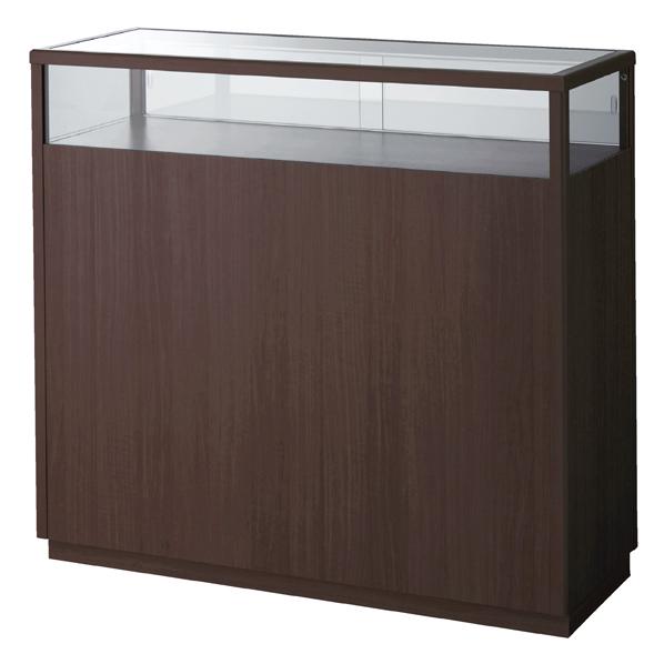 【まとめ買い10個セット品】 木製ショーケースカウンター W120cm ダークブラウン 【ECJ】