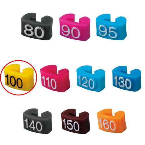 【まとめ買い10個セット品】 サイズチップ 子供用 100 黄 150個【店舗什器 小物 ディスプレー ハンガーチップ サイズチップ 店舗備品】【ECJ】