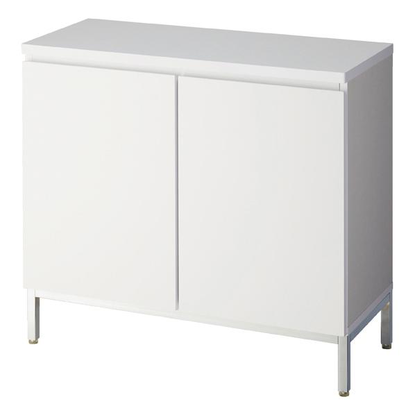 【まとめ買い10個セット品】 木製収納BOX ハイ/スチール脚 ホワイト W90cm 【ECJ】