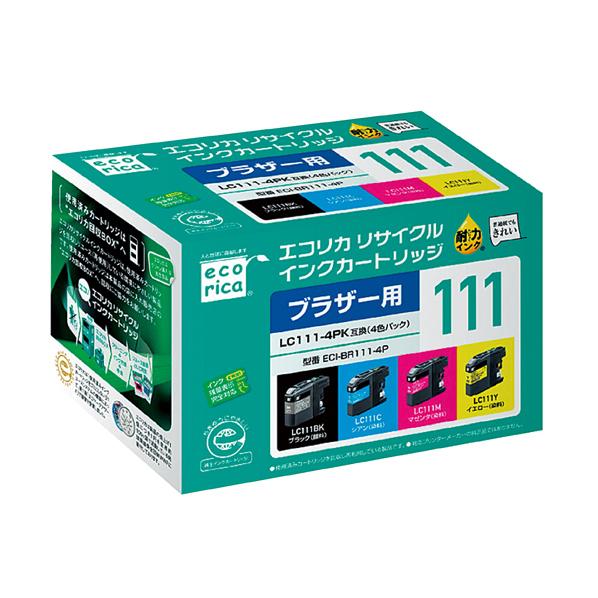 【まとめ買い10個セット品】 エコリカ ブラザー LC111-4PK用 4色セット 【ECJ】