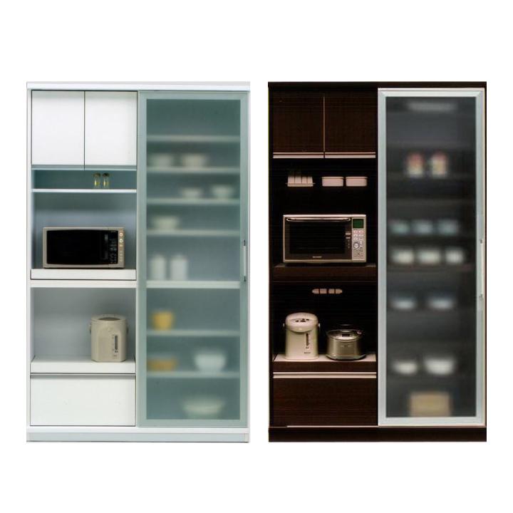 キッチンボード キッチン収納 幅123 ミストガラス 食器棚 スリム 引き戸 おしゃれ キッチンボード モイス付き キッチン コンセント付き キャビネット レンジ台 レンジボード 引き出し ダイニングボード 木製 北欧 一人暮らし