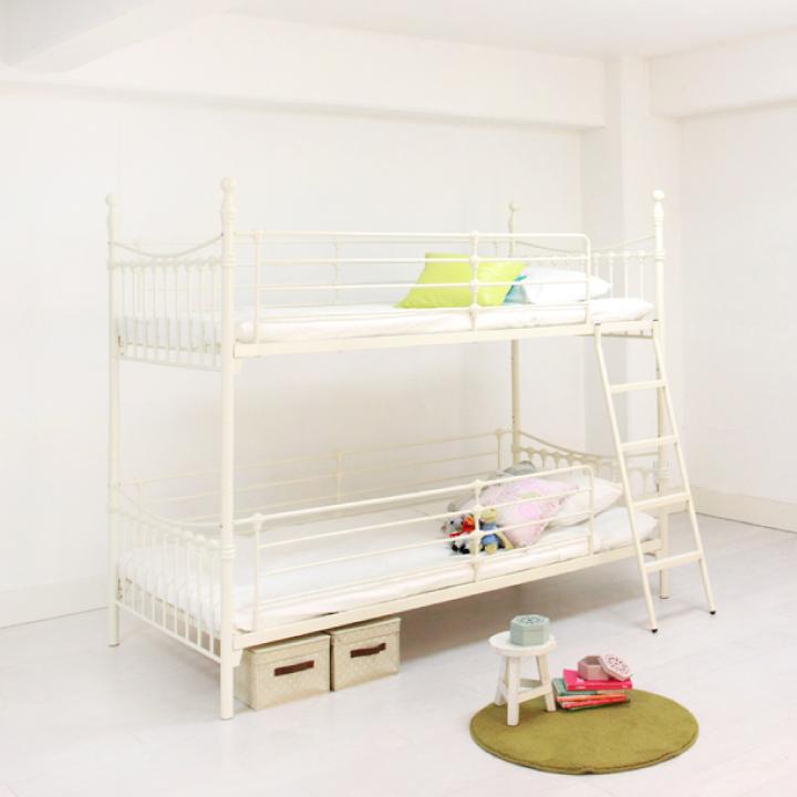 2段ベッド 二段ベッド 2段ベッド シングルベッド キング ツイン アンティーク 姫 女の子 子供部屋 ホワイト 白家具 アイアン エレガント クラシック レトロ パイプベッド 送料無料 格安 お手頃価格 通販