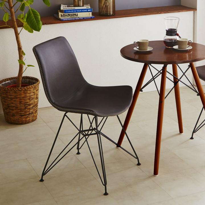 ダイニングチェア チェア イス いす 椅子 リビングチェア 食卓チェア 合皮チェア カフェチェア ソファ ダイニング リビング 木製 北欧 モダン シンプル お洒落 合皮 PU スチール脚 ステッチ 送料無料 通販