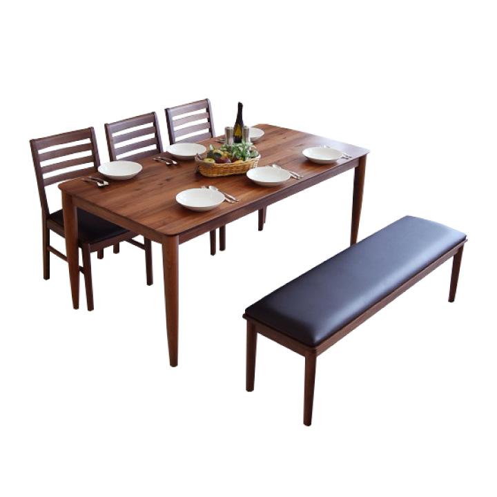 ダイニングセット ベンチ 6人用 ダイニングテーブルセット 5点セット ダイニングテーブル 天板無垢 ウォールナット おしゃれ ミッドセンチュリー モダン 食卓 テーブル ダイニングテーブル PVC ベンチ 送料無料
