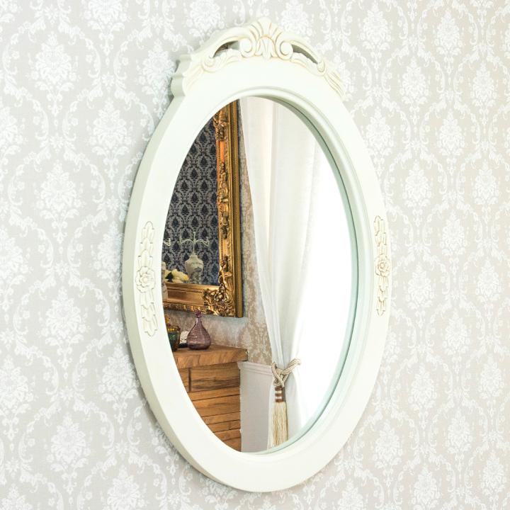 ウォールミラー 壁掛け鏡 白 アンティーク おしゃれ エレガント 姫系 姫 輸入家具 ロココ調 白家具 ホワイト 木製 アンティーク調 クラシック 送料無料