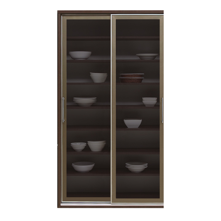 食器棚 カップボード キッチンボード 幅100 ハイタイプ スモークガラス 引戸 サイレントクローズ 北欧 モダン キッチン収納 鏡面 艶あり 光沢あり 木製 送料無料 通販