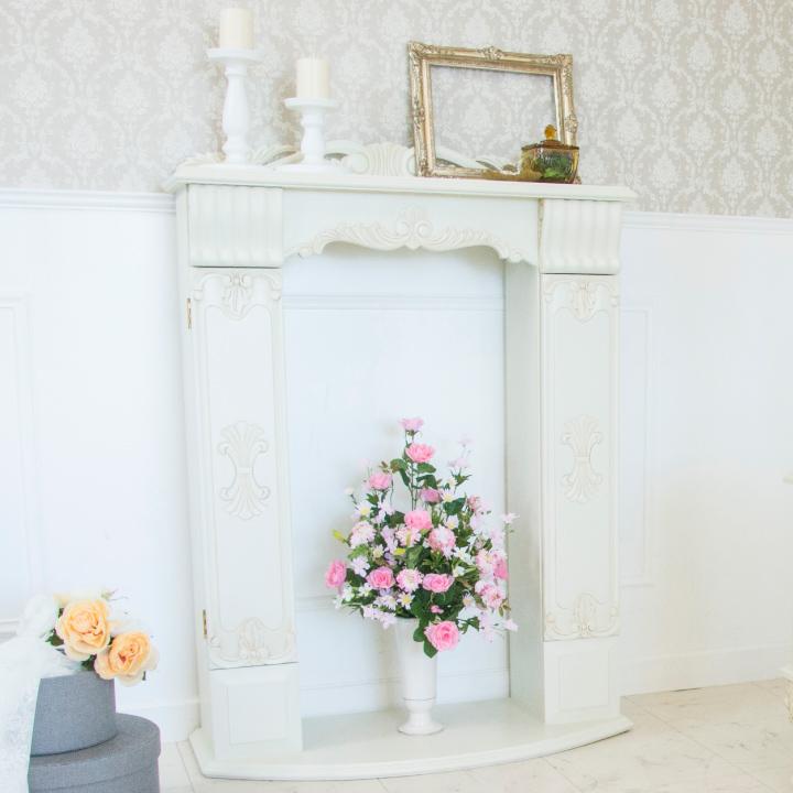 マントルピース アンティーク インテリア 木製 白 飾り棚 収納 リビング 暖炉 おしゃれ エレガント 姫系 姫 輸入家具 ロココ調 白家具 ホワイト アンティーク調 クラシック 送料無料