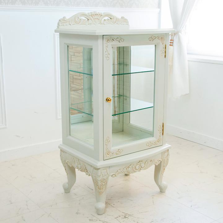キャビネット ガラス アンティーク 白 猫脚 コレクション 収納 エレガント 姫 輸入家具 ロココ調 白家具 ホワイト 木製 アンティーク調 クラシック 送料無料