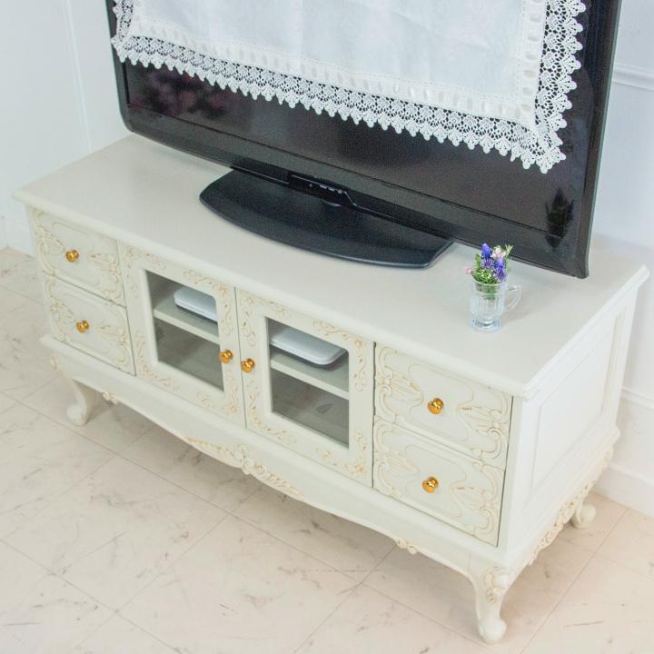 ローボード テレビボード 105 白 アンティーク 猫脚 収納 エレガント 姫系 姫 輸入家具 ロココ調 白家具 ホワイト 木製 アンティーク調 クラシック 送料無料