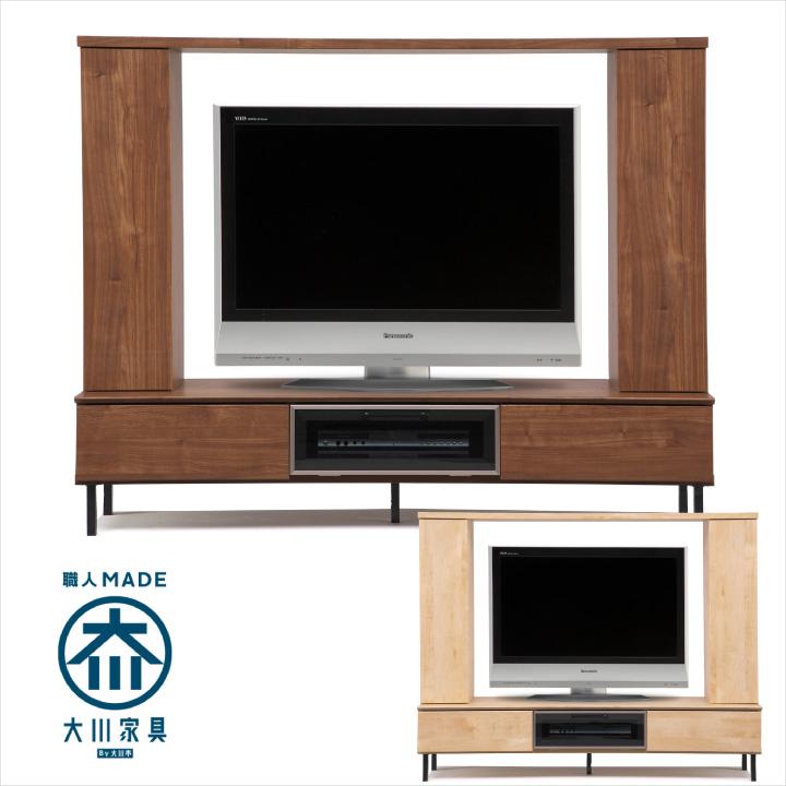 テレビボード 幅180 ハイタイプ テレビ台 壁面 収納 TVボード リビングボード AV収納 リビング収納 フラップ 開き扉 引き出し 木目 木製 日本製 大川家具 シンプル モダン TV 55型 リビング 送料無料 通販