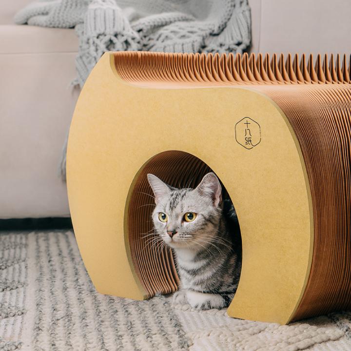 猫トンネル ペーパー トンネル キャット キャットトンネル 猫 紙 ベンチ チェアー 省スペース コンパクト 伸縮 折りたたみベンチ デザイン ネコ 雑貨 送料無料