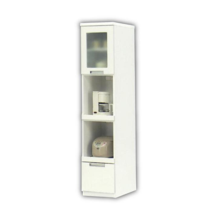 隙間収納 幅40 高さ180 すき間 スリム ガラス扉 引き出し 食器棚 キッチン収納 オープンスペース付き コンセント付き キッチン シンプル ホワイト 白 すきま家具 省スペース 木製 収納 キッチン 送料無料 通販