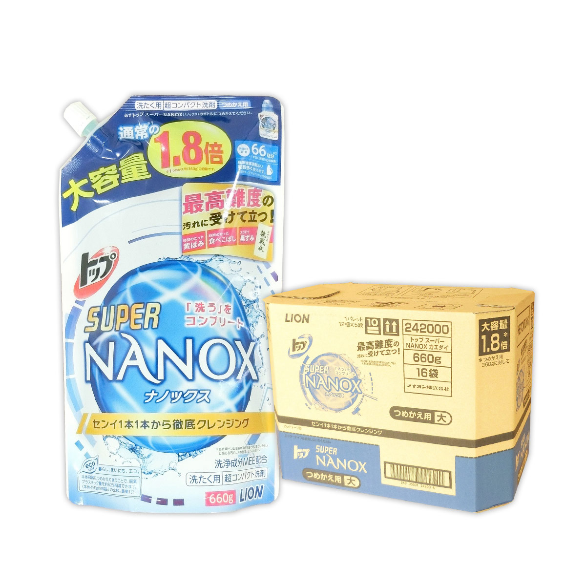 SUPER NANOX つめかえ用 大 660g × 16パック 【ライオン LION】【242000 tmp】