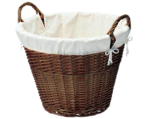 【送料無料】【2個セット】籐のある生活 布付きバスケット(持ち手付き)「64-11」【インテリア・収納/小物入れ/かご・バスケット/スモーク煮柳製】【収納ボックス】