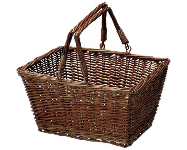【2個セット】籐のある生活 ピクニックバスケット「29-28BR」【インテリア・収納/小物入れ/かご・バスケット/スモーク煮柳製】【収納ボックス】