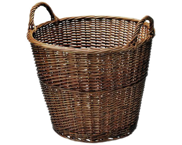 【送料無料】【2個セット】籐のある生活 持ち手付きバスケット「41-01BR」【インテリア・収納/小物入れ/かご・バスケット/スモーク煮柳製】【収納ボックス】