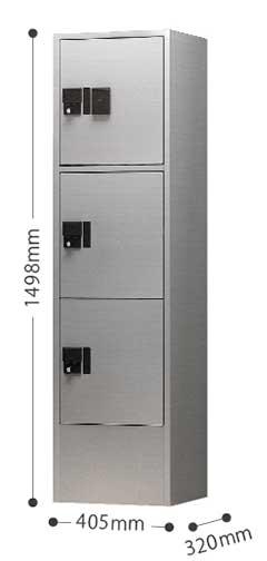 ナスタ 宅配ボックス プチ宅ユニット3 (プチ宅H400型×3ボックス+ユニット枠 ※4~6世帯向け) ※送料別途 ※お客様組立品