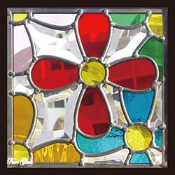 【送料無料】セブンホーム 遮音・断熱・防犯性のステンドグラス ピュアグラス Dサイズ 200mmスクエア SH-D33