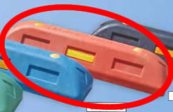 (有)サンセルフ リサイクル車止めES100赤コンクリート用 10本セット