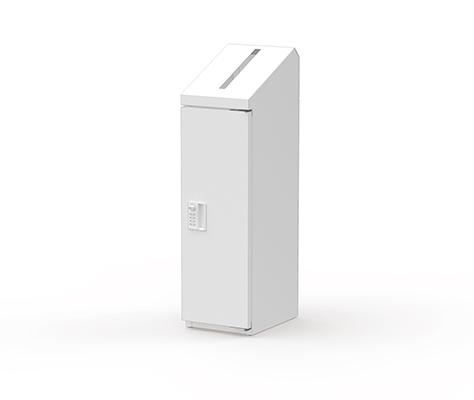 株ぶんぶく 機密書類回収ボックス スリムタイプ ダイヤル錠仕様 (ネオホワイト) KIM-S-10D