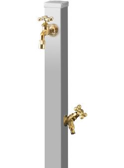 ユニソン 水栓柱 スプレスタンド70 ステンレスシルバー 蛇口2個セットASP-S201