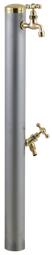 宝泉製作所 スタイリッシュモダン水栓柱 ウォーターポール ヘアライン 2口 355H