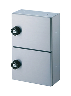 ダイケン パーソナルボックス(2段、奥行100mm) ステンレス製 静音ダイヤル錠 PLB100-2D