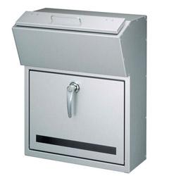 【送料無料】美濃クラフト 郵便ポスト DETAIL(デテール) 鍵付取手 上入れ前出し メタリックシルバー