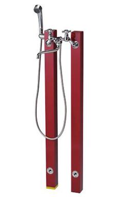 【送料無料】ニッコーエクステリア シャワープレイス 立水栓ユニット コロル OPB-RS-24+OPB-RS-24H レッド(RD) ※シャワーヘッド付水栓金具、パンは別売