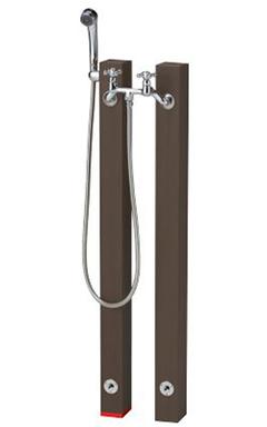 【送料無料】ニッコーエクステリア シャワープレイス 立水栓ユニット レヴウッドタイプ OPB-RS-26+OPB-RS-26H ダークブラウン(DB) ※シャワーヘッド付水栓金具、パンは別売